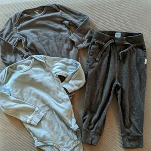 Comfy baby onesies and pants combo.